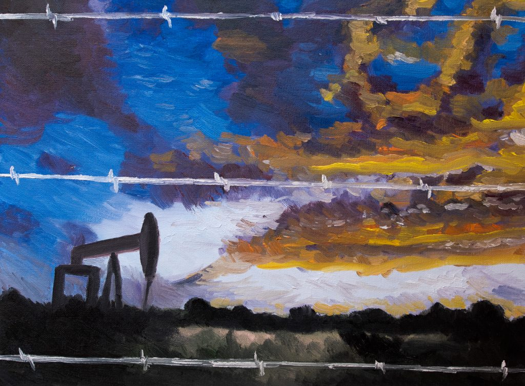 texas pump jack sunset painting